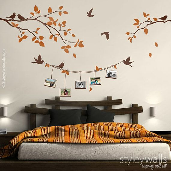 Photo Frames and Branch Wall Decal, Branch with Birds Picture Photo ...