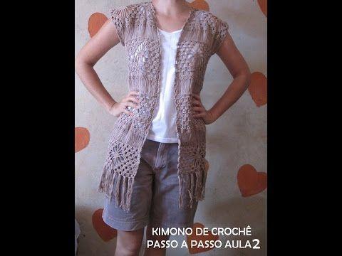 kimono de croche aula 2 - YouTube | SACOS . BOLEROS. CHALECOS ...