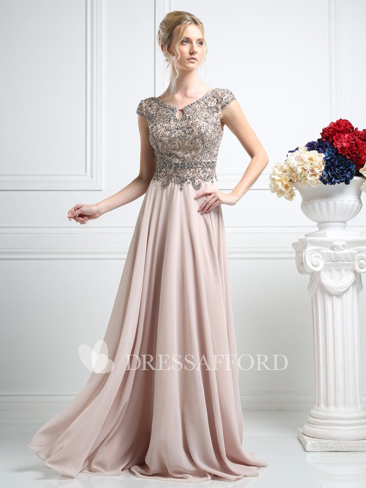 Column pleated jeweled fulllength vneck chiffon capsleeve lowv