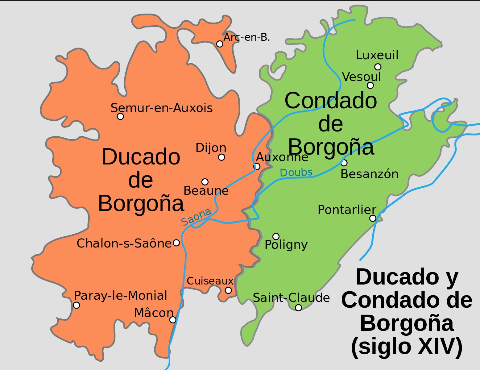Duché et Comté de Bourgogne au XIVe siecle