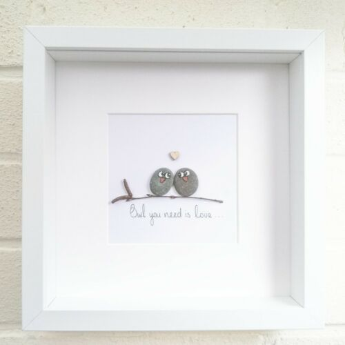 Pebble Art Picture Owls Love You Anniversary Wedding Engagement Framed Gift  | eBay #steinbilderselbermachen