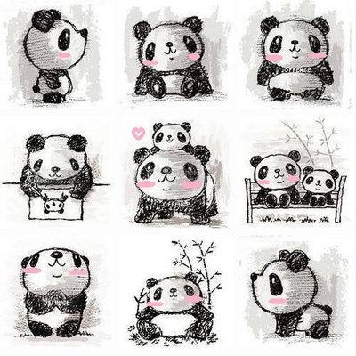 What adorable little kawaii panda sketches so cute i love all the different positions