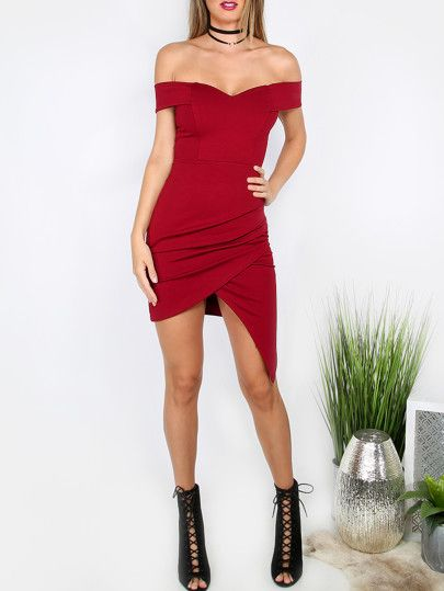 a326276144 Red Sweetheart Off The Shoulder Asymmetrical Bodycon Dress Vestidos Cortos