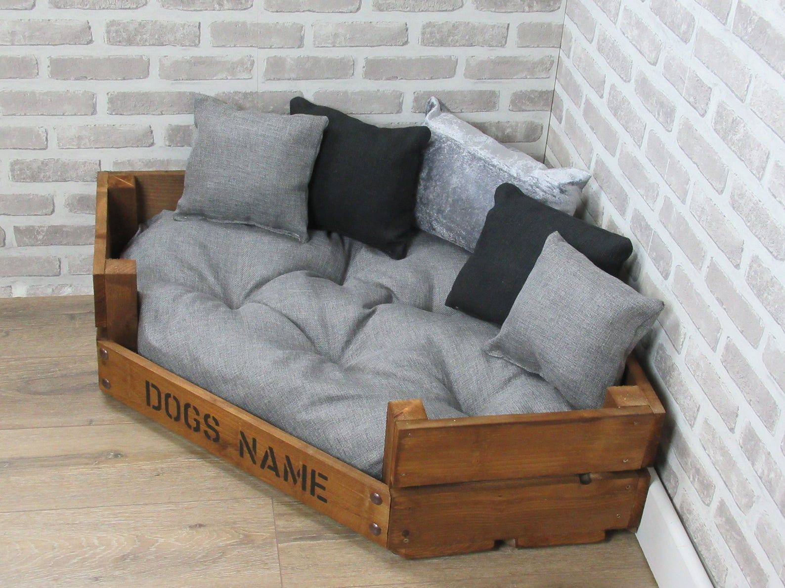 Large Personalised Rustic Wooden Corner Dog Bed In Grey And Etsy