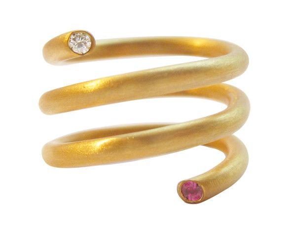 Ella Poe KRMA Kundalini Ring 18 Karat Gold Spiral Kundalini