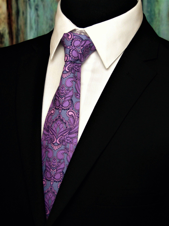 Owl Necktie Owl Tie Mens Necktie Mens Tie Floral Necktie Floral Tie Purple Necktie Purple Tie Grey Necktie Gre Paisley Tie Purple Paisley Tie Neck Tie