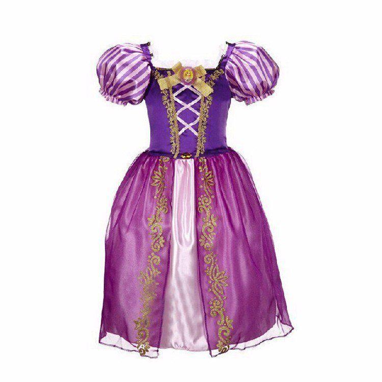 Vestido Fantasia Infantil da Rapunzel De 3 a 8 anos - Mod 176 ...
