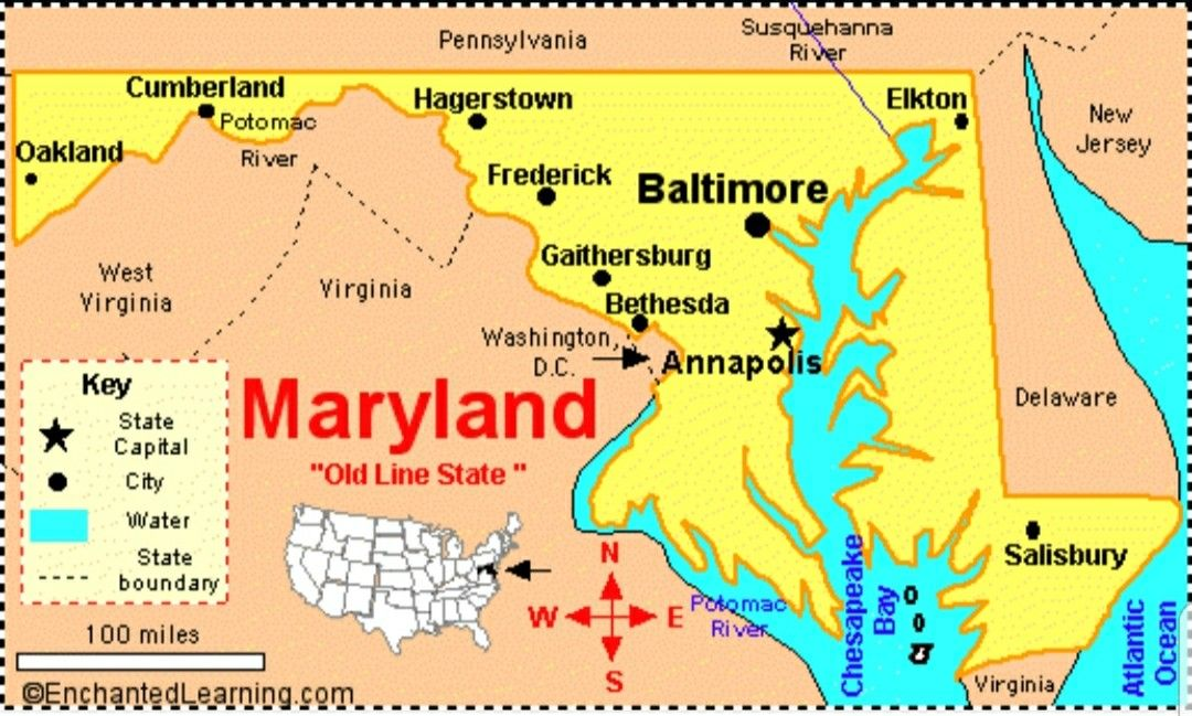 Maryland Usa Map State Symbols Delaware City Frostburg