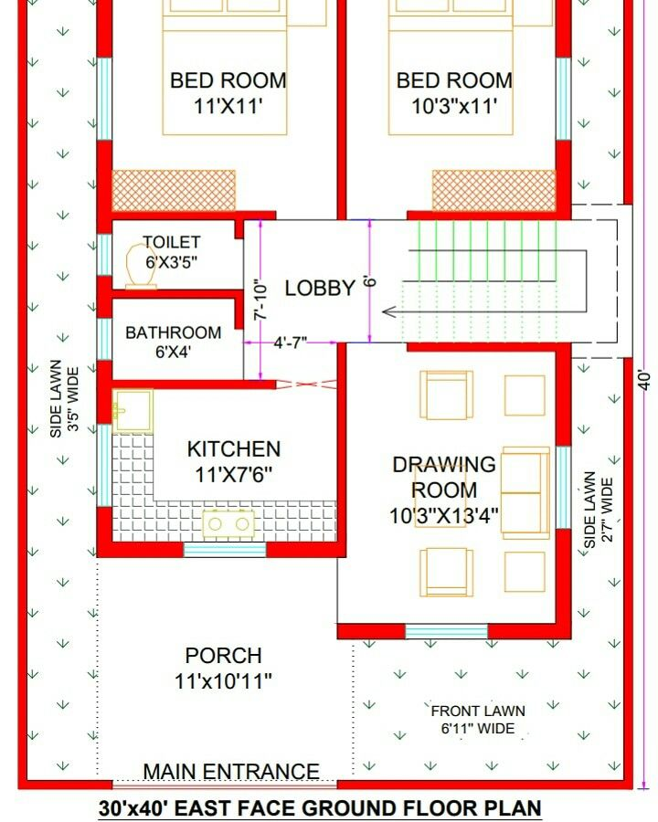 30x40 house Plan 30x40 East Facing House Plan 1200 sq ft House Plans India