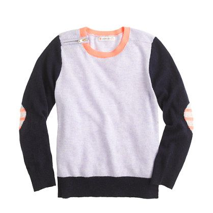 Girls' colorblock zip sweater with heart elbow patches : new arrivals   J.Crew