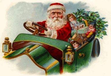 Vintage Santa in car