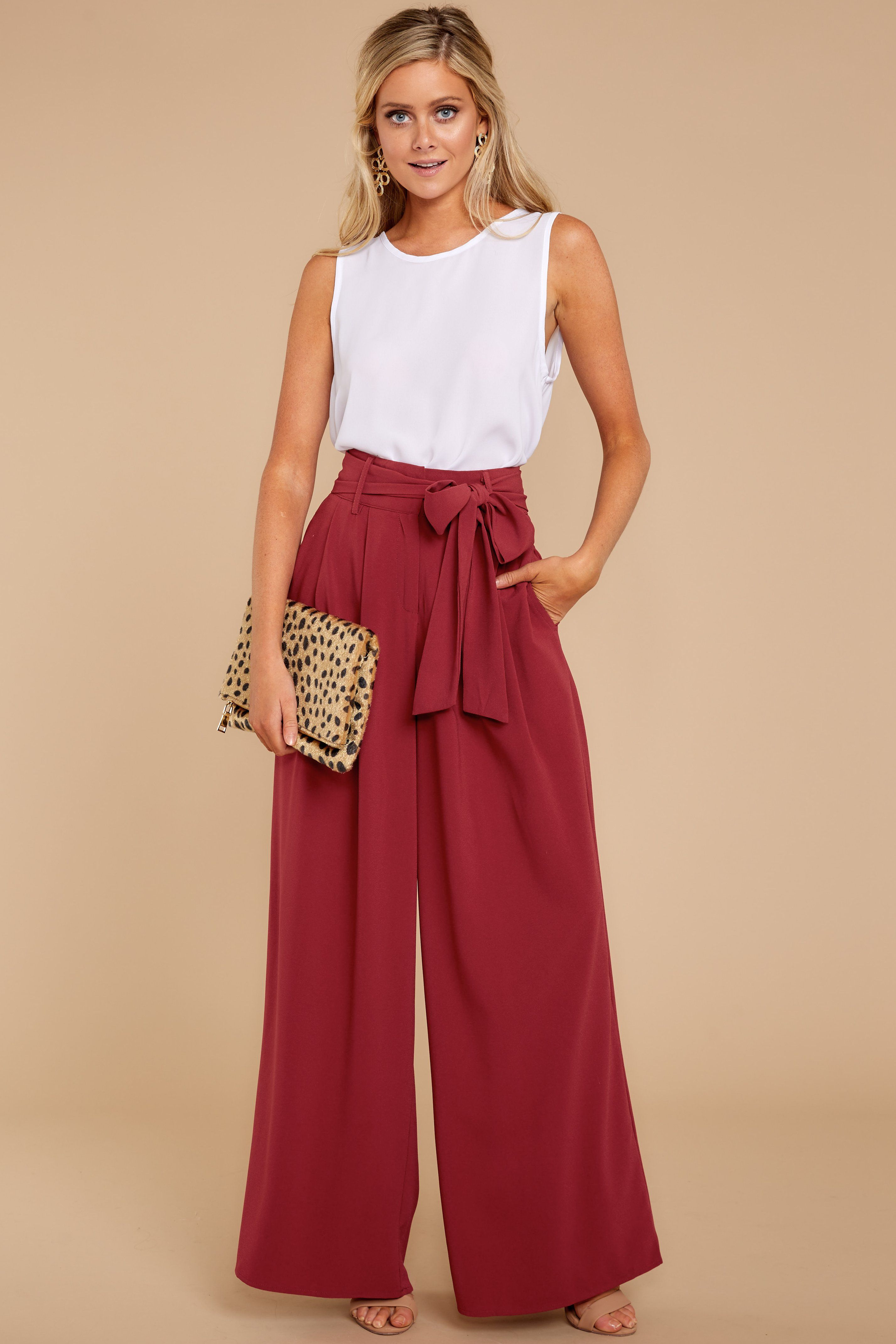 aabb9917e7 Elegant Red Palazzo Pants - Trendy Wide Leg Pants - Pants - $42.00 – Red  Dress Boutique