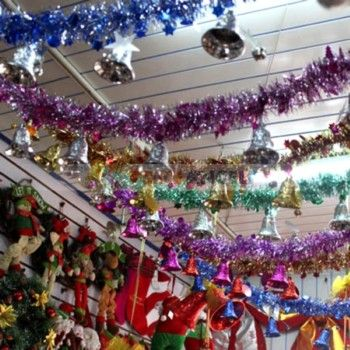 Christmas Ceiling Decoration 2m Shiny Tinsel Garland With Bells Random Color Christmas Ceiling Decorations Tinsel Garland Christmas Decorations