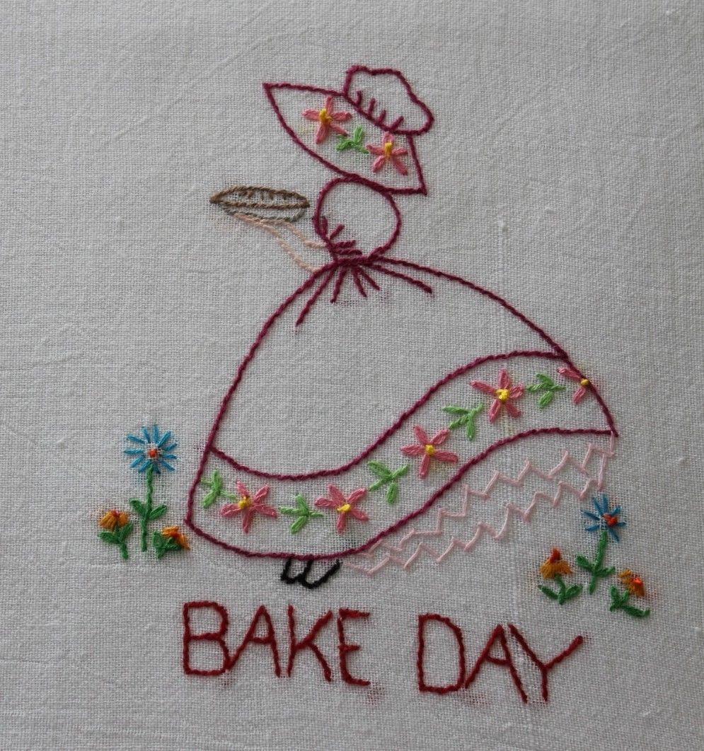 Hand embroidered quot girl flour sack kitchen dish towels