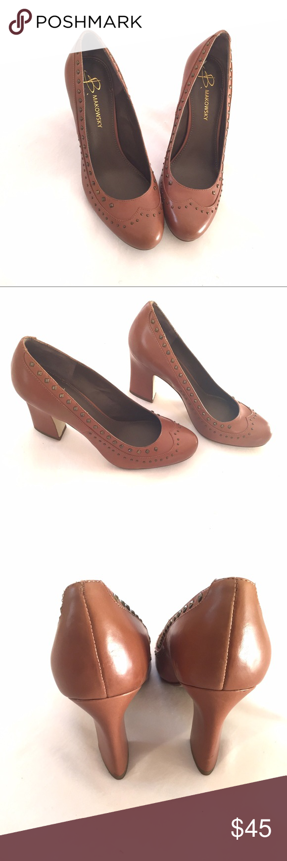 "🌟FLASH SALE 🌟🎉HOST PICK 🎉 B. Makowsky pumps Great pair of pumps! Brown leather upper with stud detailing. Heel is approx 3 3/4"".  Size 7. These haven't been worn outside. In photo #4, you can see a discoloration that is on the instep- it's not a scuff just a lighter area.  🌟FLASH SALE PRICE IS FIRM UNLESS BUNDLED 🌟 b. makowsky Shoes Heels"