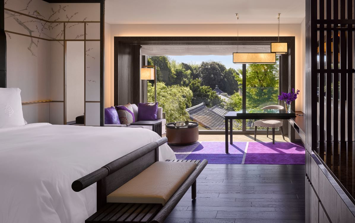 Guestroom with a temple view at the four seasons kyoto by for Design hotel kyoto