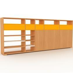 Photo of Wohnwand Buche – Individuelle Designer-Regalwand: Schubladen in Gelb & Türen in Buche – Hochwertige