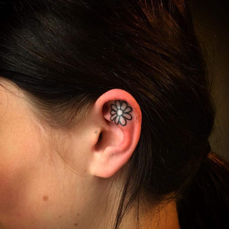 69 perfect ear tattoo designs that you should embrace this summer free hand inner ear daisy tattoo izmirmasajfo