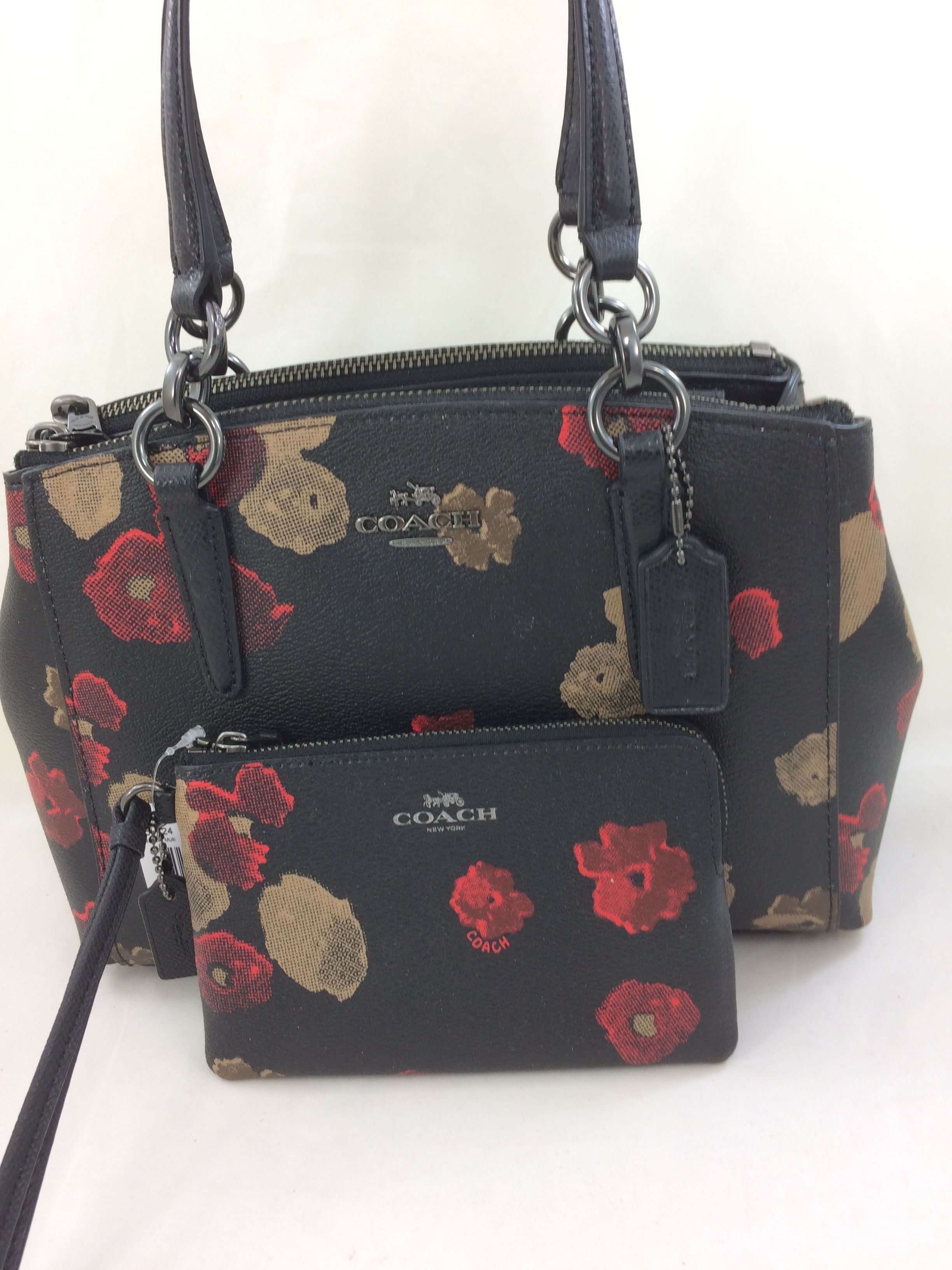 New Coach F55538 Mini Christie Carryall In Halftone Floral Print