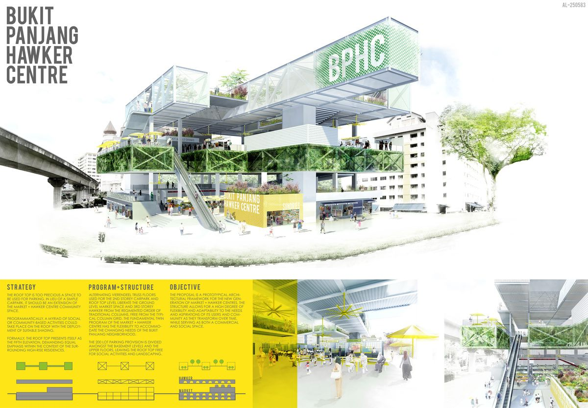 Bukit panjang hawker centre competition entry for Prestation architecte
