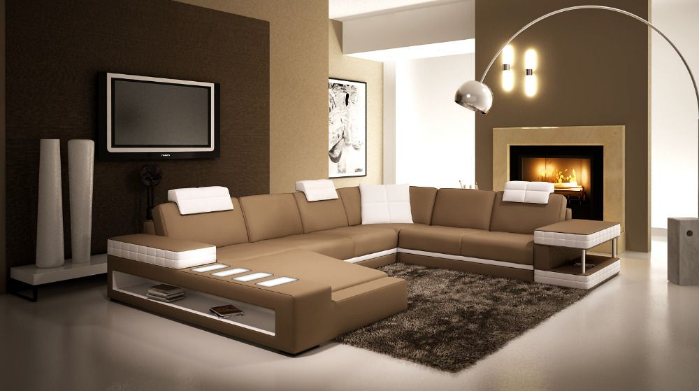 Fabulous Living Room Leather Sofa Set With Led Light Modern Corner Gmtry Best Dining Table And Chair Ideas Images Gmtryco
