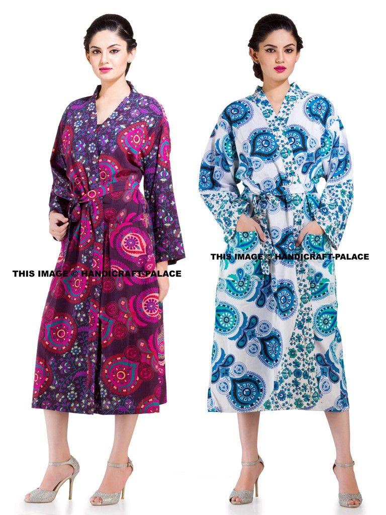 13cb6d0b27 INDIAN Peacock Mandala Ethnic Cotton Bath Robe Kimono  bathrobe  kimono   gown  daygown