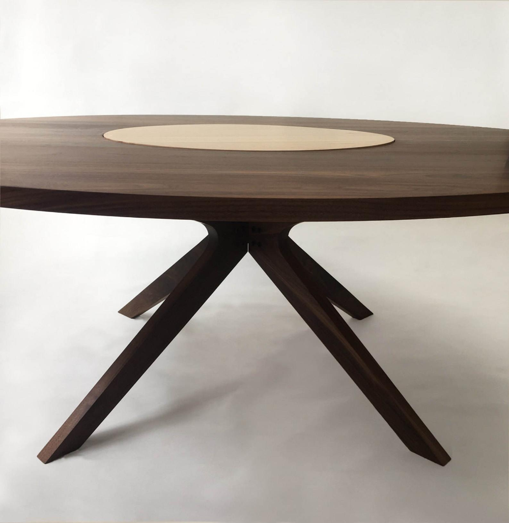 Contemporary Modern Solid Walnut Round Dining Table With Maple