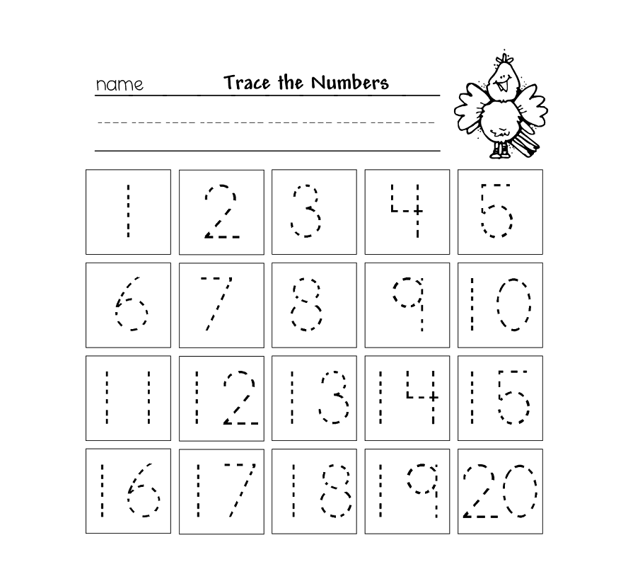 Trace Numbers 1 20 for your beloved preschool or kindergarten kids – Number 1 Worksheets for Kindergarten