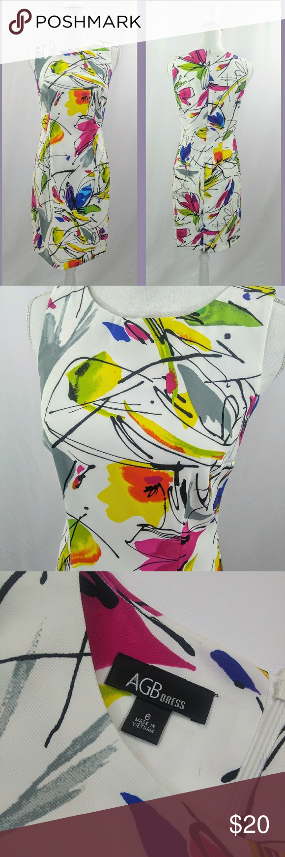 Agb dress multi color abstract floral size excellent pre loved condition also pinterest rh co