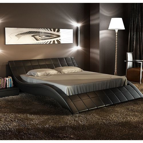 Rosetta Queen Pu Leather Curved Bed Frame In Black Curved Bed