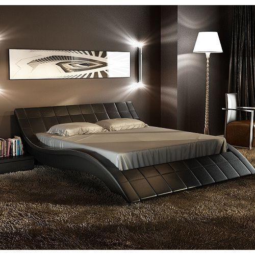 Rosetta Queen PU Leather Curved Bed Frame in Black | Camas, Camas de ...