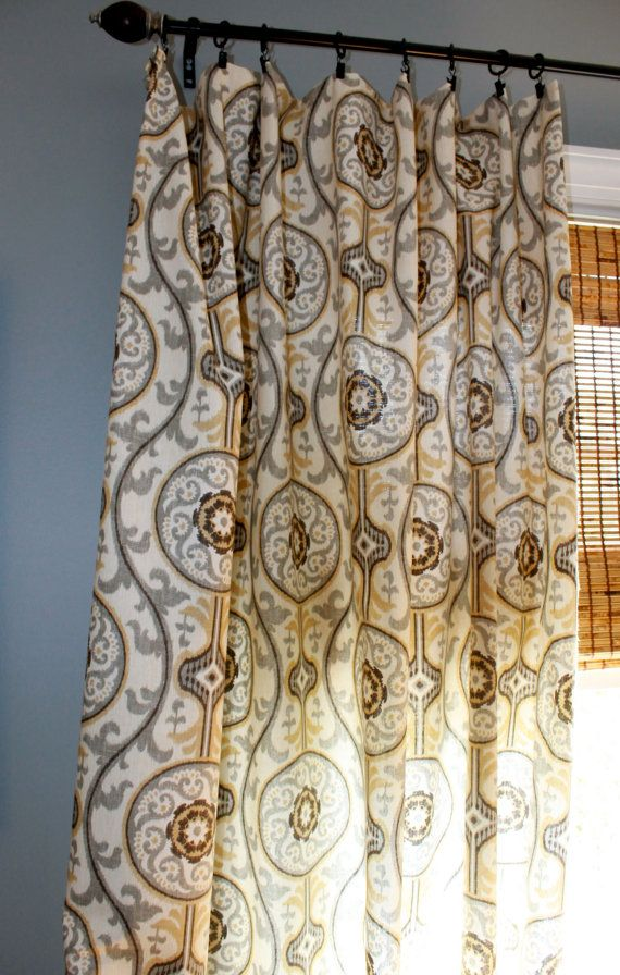 Brown Tan Ivory And Grey Ikat Curtain Panel / By StitchandBrush, $180.00