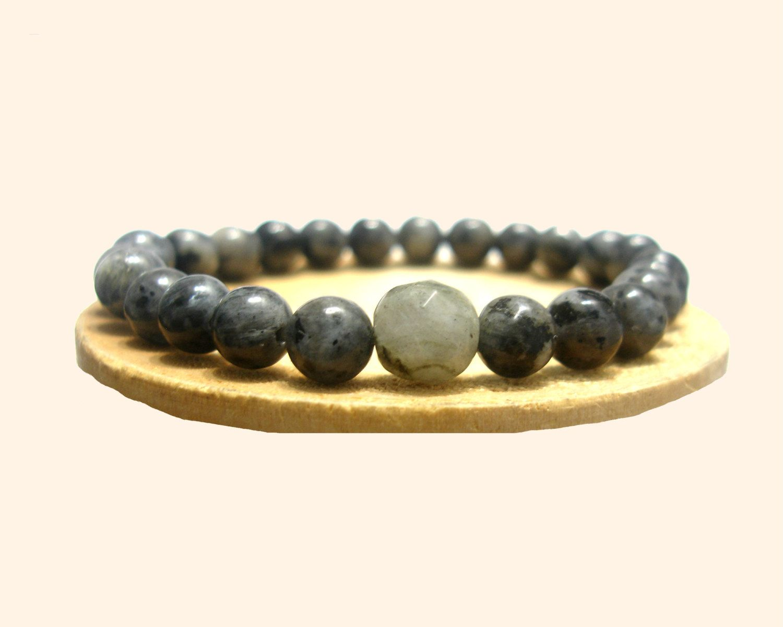 Men Bracelet , Multicolor Grey Round Labradorite , Stretch Meditation Bracelet  -  Tibetan Mala - Unisex -Yoga -  Handmade - Natural Stones de ArtGemStones en Etsy