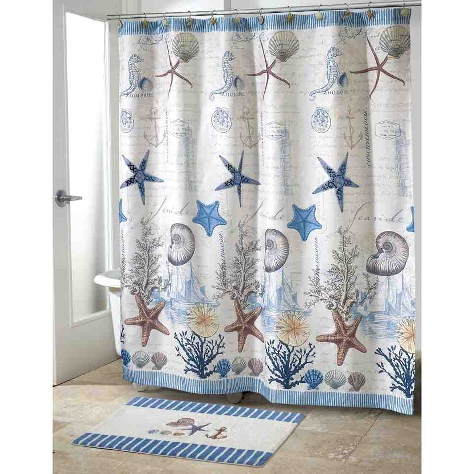 Fabulous Nautical Theme Bathroom Blue Sea Polyester Shower Curtain ...