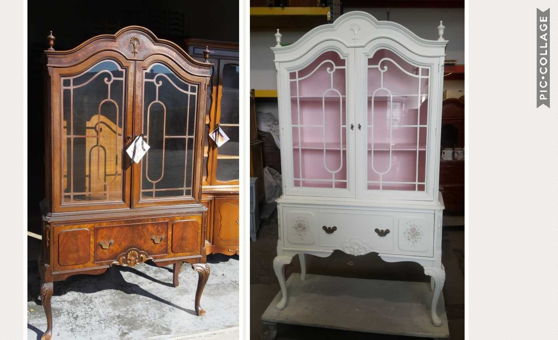 Diy Furnituremakeover Upcycled Before After Of China Cabinet Painted In An Off White With Pa Painted China Cabinets Shabby Chic Furniture Vintage Furniture