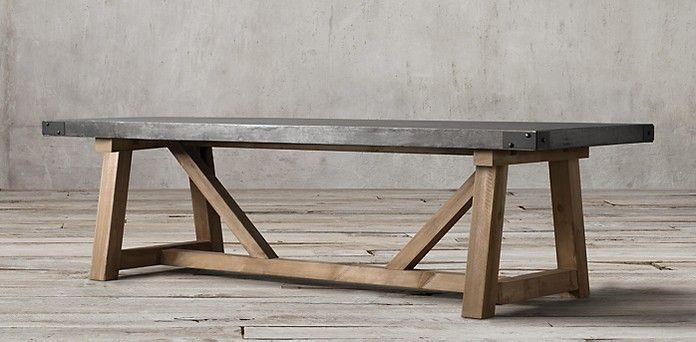 Salvaged Wood Concrete Beam Rectangular Table Restoration - Rh concrete table