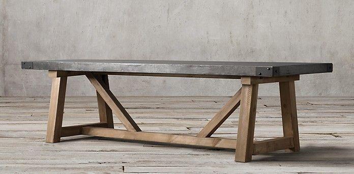 Salvaged Wood Concrete Beam Rectangular Table Restoration