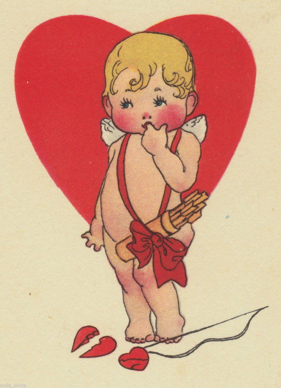 Valentine Vintage Greetings Postcard Danny Cupid Plays Game For