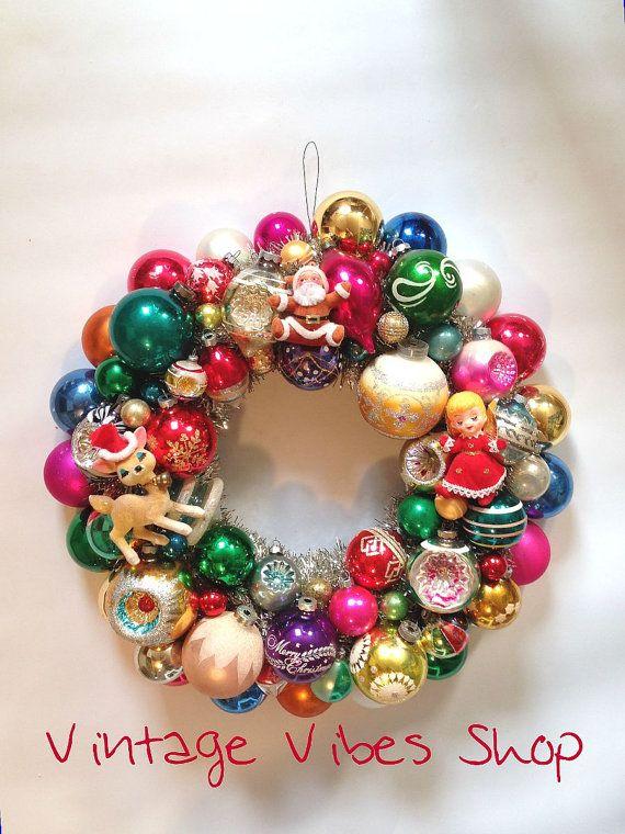 vintage christmas bulb wreath trinkets shiny brite on etsy