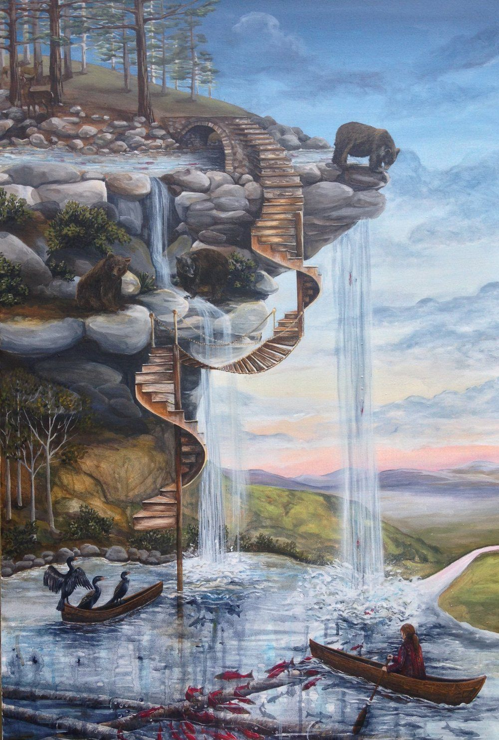Best Spiral Staircase Art Painting Acrylic 400 x 300