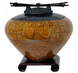 Pequeñas urnas de cremación raku - estilo de la pluma