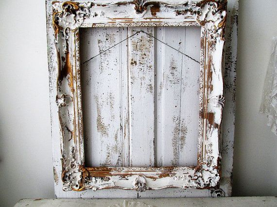 Large wooden picture frame distressed white w/ by AnitaSperoDesign ...