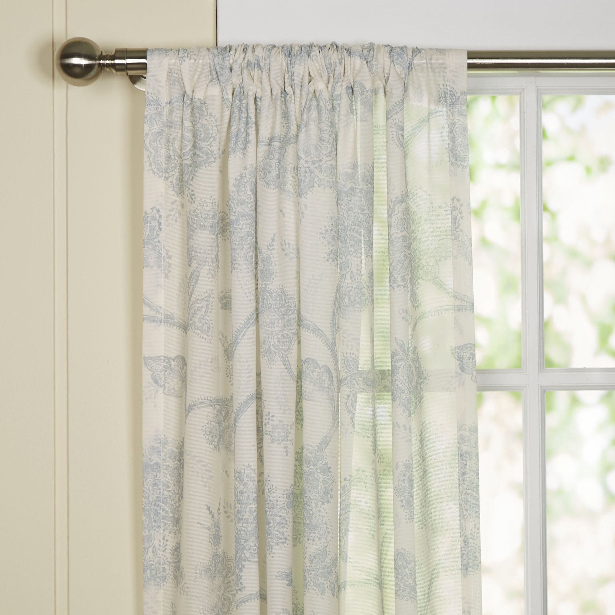 Slot top voile pair olive cheap green curtain voile uk delivery - Birch Lane Parisa Single Sheer Curtain Panel Reviews Birch Lane
