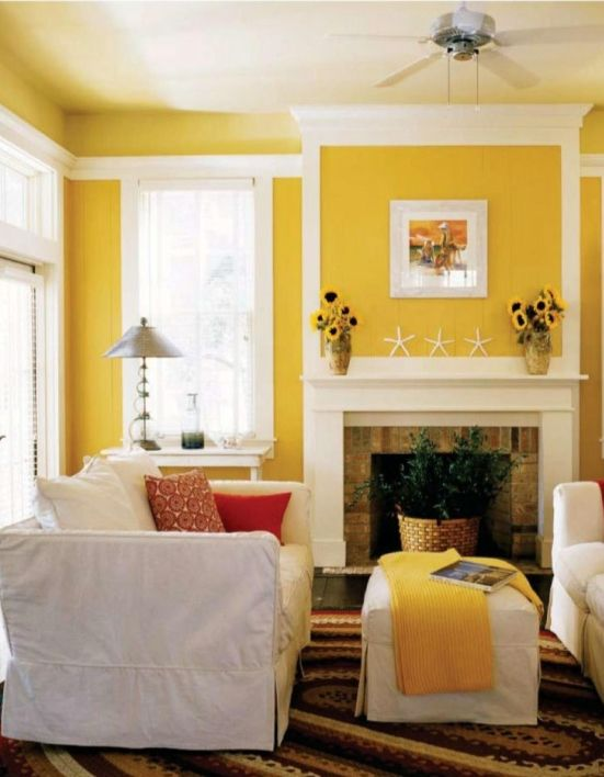 Attirant Yellow Living Room Design Color Scheme Idea Picture