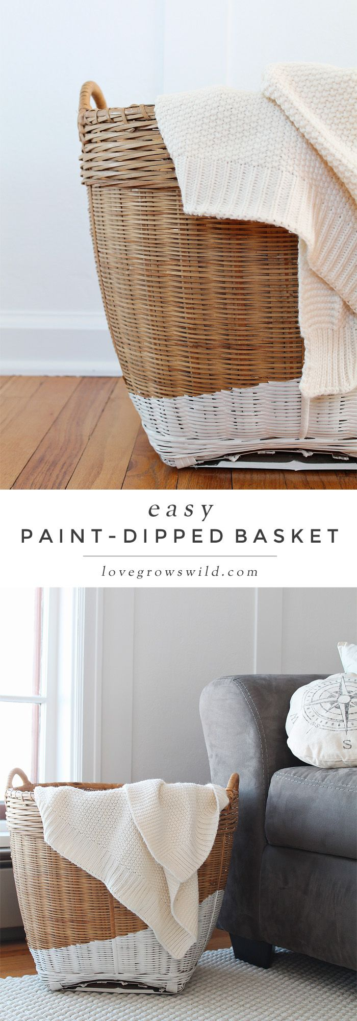 The EASY way to get the paint-dipped look! These stylish baskets are perfect for storing blankets, magazines, toys, and more. Get the details at LoveGrowsWild.com