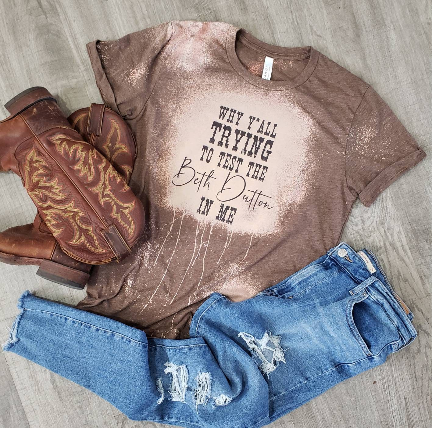 cowboy T-shirt bleached cowboy T-shirt. bleached T-shirt bleached shirt Ride for the brand bleached tee