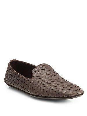 Bottega Veneta Fiandra Intrecciato Foulard Leather Slippers 2BS84x