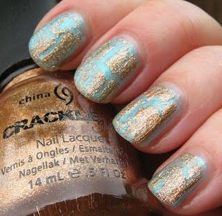gold crackle over a very light blue