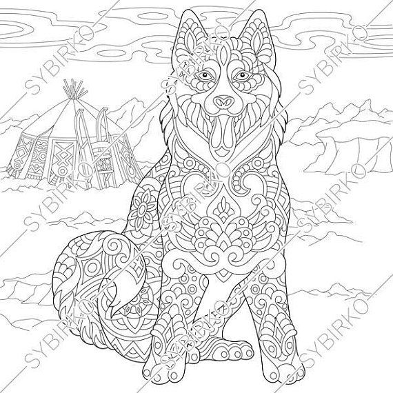 Coloring Page For Adults Digital Coloring Page Siberian Etsy Dog Coloring Book Horse Coloring Pages Dog Coloring Page