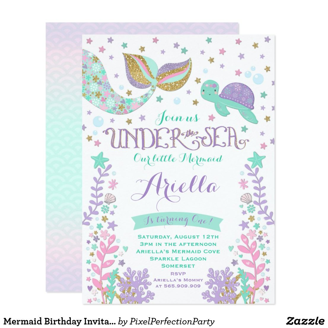 Mermaid Birthday Invitation Under The Sea Party | { Happy Birthday ...